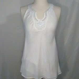 Ellavie white sleeveless blouse with beaded collar